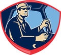 Bus truck driver side shield illustration of a or inside vehicle viewed from set inside crest done in retro style Royalty Free Stock Photos