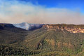 Bushfire in grose valley australia the b lue mountains has threatened towns on the escarpment the fireedge is around kms with Stock Photo
