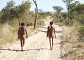 Bushmen hunters kalahari desert namibia Royalty Free Stock Photography