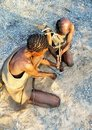 Bushmen making fire Stock Image