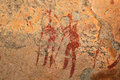 Bushmen rock painting san depicting human figures drakensberg mountains south africa Royalty Free Stock Image