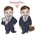 Busimess man with money banker hand drawn sketchy vector illustration Stock Images