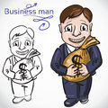 Busimess man with money banker hand drawn sketchy vector illustration Stock Photo