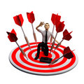 Businassman standing on the archery board. Concept Royalty Free Stock Photo