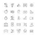 Busines, money and finance vector thin line icon set Royalty Free Stock Photo