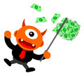 Business activity illustration of monster cartoon character in Stock Photos