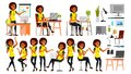 Business African Black Woman Character Vector. In Action. Office. IT Business Company. Working Elegant American Modern