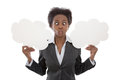 Business african woman crossed eyed holding cloud signs isolate isolated no white background for publicity yes or no Stock Photography