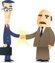 Business agreement with businessmen shaking hands closing a deal illustration cartoon Stock Photos