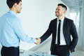 Business agreement successful leaders greeting one another at meeting Royalty Free Stock Photos