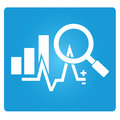 Business analysis chart symbol in blue button Royalty Free Stock Images