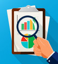 Business Analysis symbol with magnifying glass icon and chart. Royalty Free Stock Photo