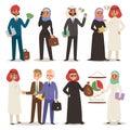 Business arabic people teamwork vector illustration cartoon character arab manager office meeting