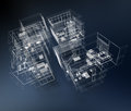Business architecture d rendering of a group of professional buildings Royalty Free Stock Photography