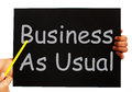 Business as usual blackboard means routine meaning and normality Royalty Free Stock Photos