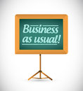 Business as usual message on a wood chalkboard illustration design Royalty Free Stock Photo