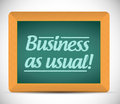 Business as usual message on a wood chalkboard illustration design Stock Image