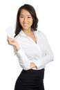 Business asian woman showing blank paper card Royalty Free Stock Photo