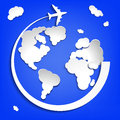 Business background with earth globe from clouds and airplane eps vector illustration Royalty Free Stock Photos