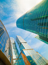 Business background skyscrapers bottom view Royalty Free Stock Photography