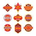Business badge vector set in retro design style. Abstract logo. Premium quality. Satisfaction guaranteed. Original brand.
