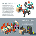 Business banners vector design with isometric workplace modern interior and 3d office people Royalty Free Stock Photo