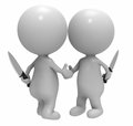 Business betray partner knife d double cross Stock Photography