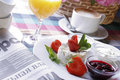Business breakfast on the table close up Royalty Free Stock Images