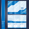 Business brochure template tri fold with blue Royalty Free Stock Photos