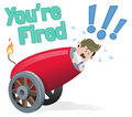 Business buddy gets fired illustration of about to be from his job out of a giant cannon Royalty Free Stock Images