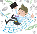 Business buddy has a financial safety net illustration of falling into the of his huge every home should have one Royalty Free Stock Image