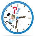 Business buddy is running out of time illustration clearly very distressed as he in his giant metaphorical clock Royalty Free Stock Images
