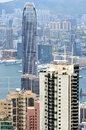 Business buildings near Victoria harbor, Hongkong Stock Image