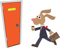 Business bunny a businessman is late for work eps Stock Photo