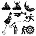Business businessman work concept stick figure pic a set of people pictogram representing working Stock Photo