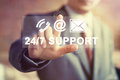 Business button 24 hours support icon web mail sign Royalty Free Stock Photo