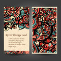 Business card with asian ethnic floral retro doodle background pattern in vector. Zentangles inspired