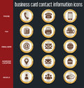 Business card contact information icons collection Royalty Free Stock Photo