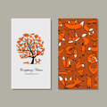 Business card design, foxy tree
