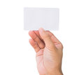 Business card in female hand credit holding Stock Photos