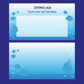 Business card with fishes two sides diving and fishing