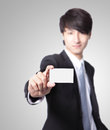 Business card in man hand Royalty Free Stock Photos