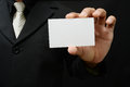 Business card man in suit with blank Royalty Free Stock Images