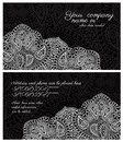 Business card paisley lace black design back and front Stock Photos