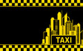 Business card with taxi and night city Stock Photos