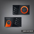 Business Card template set 029 orange and dark layer Royalty Free Stock Photo