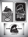 Business card template set. Vintage steam train, old retro railroad Royalty Free Stock Photo