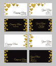 Business card template or visiting card set with golden foil heart shape design. Royalty Free Stock Photo