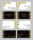 Business card template or visiting card set with golden foil heart shape design.