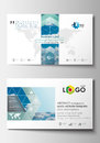 Business card templates. Cover design template, easy editable blank, abstract blue flat layout, vector illustration. Royalty Free Stock Photo